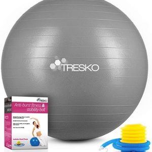 TRESKO Gymnastikball mit GRATIS Übungsposter inkl. Luftpumpe 85cm / 300kg